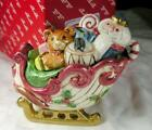 Fitz & Floyd Kris Kringle Sleigh Sugar w Lid & Spoon