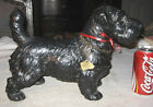 ANTIQUE HUBLEY BLACK SEALYHAM CAST IRON HUGE DOG DOORSTOP BRASS LICENSE TAG EAR