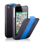 Blue Stripe Flip Leather Case Cover Pouch For iPhone 4S 4 Black