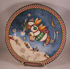 Debbie Mumm SNOW ANGEL VILLAGE Set of 4 Snowman Christmas Dessert Plates