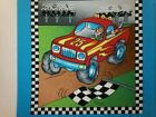 MONSTER MACHINES 5 Fabric Panel Quilt Block Square by Tricia Cribbs for Nort