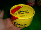 vtg advertising empty metal tin can johnsons paste wax 16oz tin folk art