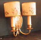 DOUBLE ARMED WHITE METAL GOLD GILDED UNWIRED WALL SCONCE WITH FLORAL SHADES 5262