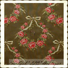 BonEful Fabric FQ Cotton Quilt VTG Robyn Pandolph Rose Pink Green Flower Wreath