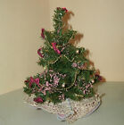 MINIATURE VICTORIAN DECORATED FAKE CHRIISTMAS TREE PEARLS/RIBBON BOWS/LACE