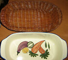 STONEWARE CASSEROLE OVAL W/BASKET HAMPTON DIRECT 4 cups
