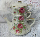 Vintage LEFTON STACKING TEAPOT stack TEA POT creamer sugar shabby PINK ROSES