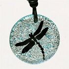 Dragonfly Pendant Silver Color Fused Dichroic Glass By Zulasurfing