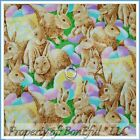 BonEful FABRIC FQ Cotton Realistic Easter Spring Bunny Rabbit Painted Egg Basket