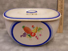 Vintage Hand Painted Lidded Refriderator Box Container Fruit Blue White Rare