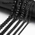 3 5 7 9 11mm Mens Chain Stainless Steel Black Tone Cuban Curb Necklace Bracelet
