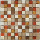 Red and Golden Glass and Stone Mosaic Tile for Bathroom, Kitchen, Backsplash