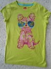 NEW GIRLS HANES GLITZY GRAPHIC COTTON TEE TOP LIME COOL PUPPY S 6 6X