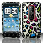 For Sprint HTC EVO 3D Protector HARD Case Snap on Phone Cover Rainbow Leopard