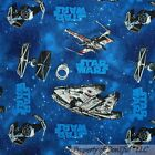BonEful Fabric FQ Cotton Quilt Blue Sky Dark STAR WARS VTG Space Ship Planet Boy