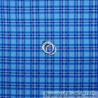 BonEful FABRIC FQ Cotton Blue French Country Cottage Plaid Stripe Check Block US