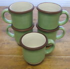 5 Coffee Mugs Dansk Stacking Stripe Pistachio Green Chocolate Brown Stripes