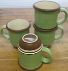 4 Coffee Mugs Dansk Stacking Stripe Pistachio Green Chocolate Brown Stripes