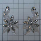 SEQUIN BEADED FLOWER PAIR APPLIQUES 2466 M