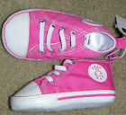 New Girls BABY GAP Crib Shoes Preppy Pink Elastic Laces No Tying Size 4