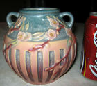 ANTIQUE ROSEVILLE PINK & BLUE CHERRY BLOSSOM TREE ART DECO POTTERY VASE MINT!!