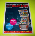 NIGHT RIDER By BALLY 1977 ORIGINAL EM PINBALL MACHINE SALES FLYER BROCHURE