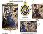 Christmas Gift Set Nativity of Christ Icon Banner Rosary Pouch  Framed Pendant