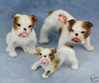 Vintage Miniature 3 Bone China Bulldog Dog Family Figurines Gloss Made In Japan