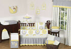 SWEET JOJO DESIGNS MOD GARDEN BUTTERFLY YELLOW GRAY GIRL BABY BEDDING CRIB SET