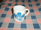 Vintage Milk-Glass Mug Coffee Cup Hazel Atlas Blue Flowers  3 3/8