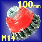 Silverline 100mm Rotary Wire Brush - Twist Knot Bowl Cup wheel M14 angle grinder