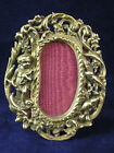 Brass Figural Photo Frame with Cupid  and Bird 2 & 3/4 by 2 & 1/4