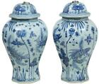 20TH CENTURY PAIR OF CHINESE BLUE AND WHITE OCTAGONAL JARS