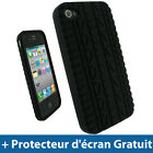 Noir Housse tui silicone pneu pour Apple iPhone 4 4G 16GB 32GB Coque Case Cover