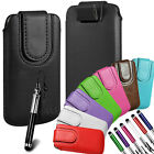 Magnetic PU Leather Pull Tab Flip Case  Stylus For T Mobile Phones