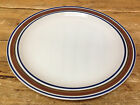Chop Plate Serving Platter Salem Georgetown Brown Blue Bands Rings Stoneware USA
