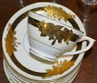 52  Pc Set  Vintage HEAVILY Gold Encrusted LEAVES Black Rim China DINNERWARE SET