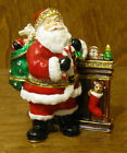 Kubla Crafts Jeweled Trinket Box #KC3468 SANTA with FIREPLACE, From Retail Shop