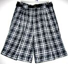 YOUNG ONE Vtg Black Plaid High Waist Culottes Mod Cuff Classic Belt Shorts 14 M