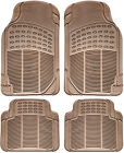Car Floor Mats for All Weather Rubber 4pc Set Semi Custom Fit Heavy Duty Beige
