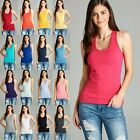 Womens Racerback COTTON Tank Top Soft Stretchy Basic Sleeveless Tee T1734 3910