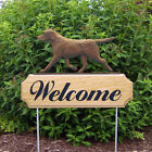 Chocolate Labrador Retriever Dog Breed Oak Wood Welcome Outdoor Yard Sign