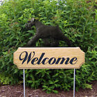 Schnauzer Uncropped Dog Breed Oak Wood Welcome Outdoor Yard Sign Black