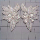 SEQUIN BEADED CRYSTAL IRIS FLOWER PAIR APPLIQUES 2142 H