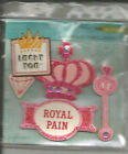 Colorbok Lucky You Royal Pain Glitter Chipboard Embellishments 4 Pieces