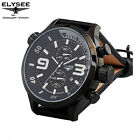 New Mens Elysee 81002 Chronograph Black Leather Strap Watch