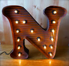 LG BROWN VINTAGE STYLE LIGHT UP MARQUEE LETTER N, 24
