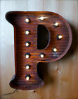 LG BROWN VINTAGE STYLE LIGHT UP MARQUEE LETTER P, 24