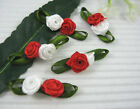 Double Satin Rose w Leaf Appliques x60 Red White For Xmas Dolls
