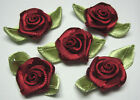 Satin Ribbon Rose w Leaf Appliques x 100 Burgundy Victorian Craft Dress